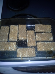 Align Tofu Strips in Greased Pan